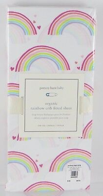 Pottery Barn Kids・Organic Rainbow Crib Fitted Sheet・Hearts Toddler Multi NWT
