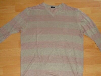 CRUCIANI Mens Sweater Color Purple light & Grey XL (52) 100% Linen Made Italy