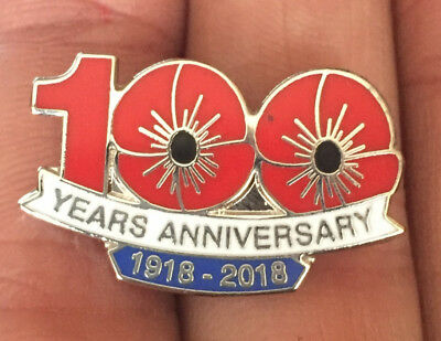 100 Years Anniversary 1918-2018 Poppy Remembrance Enamel Pin Badge