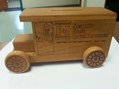Seattle Post Intelligencer Wooden Delivery Truck Coin Bank 1979