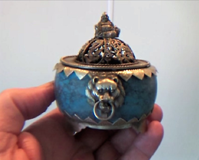 Magnificent Turquoise Incense Burner with Buddha, Lion Heads, Dragons & Phoenix