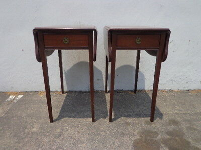 2 Antique Mahogany Drop Side French Nightstands Bedside End Side Tables Dresser