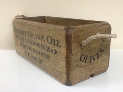 Vintage style wooden box, crate, trug. Finest Olive Oil, Florence, Italy.