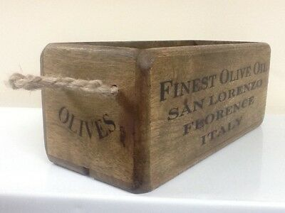 Antique style wooden box, crate, trug. Finest Olive Oil, Florence, Italy.