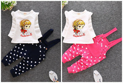 2PCS toddler kids baby girls cotton outfits tops & rompers girls cute sets