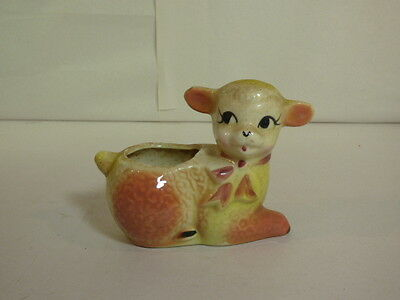 Vintage Ceramic Baby Lamb w/ Bow Orange & Yellow Flower Pot 6D