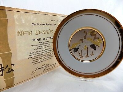 "Hamilton Collection Japanese Floral Calendar Chokin Plate - ""NEW YEARS DAY"""