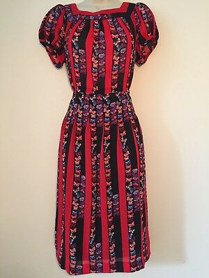 Genuine vintage 1970s 1980s butterfly fabric pleated dress excel condition M - L