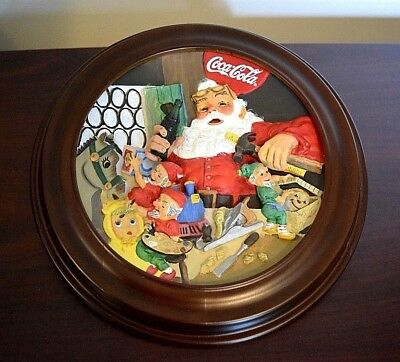 Vintage Santa's Coca-Cola Workshop Sculptured Collector Plate - with Frame-L@@K!