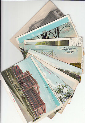 Lot of 10 Vintage Era Massachusetts Postcards Lowell MASS Middlesex County MA