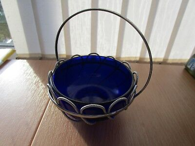 Vintage Sugar Bowl With Handle & Blue Glass Insert