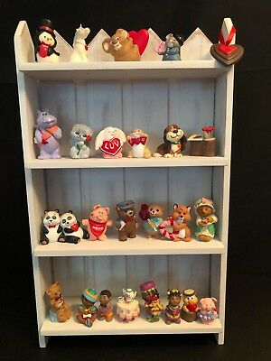 Hallmark Merry Miniatures Valentines Day Lot of 25 & Wood Shelf