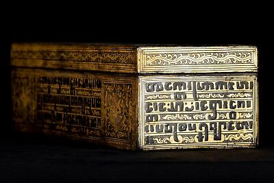 19th Century Antique Burmese Shwe Zawa Lacquerware Manuscript Box - 35cm/14""