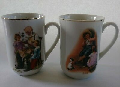 Set of 2 Norman Rockwell Cups Japan Fine Porcelain Gold Trim Coffee Mugs