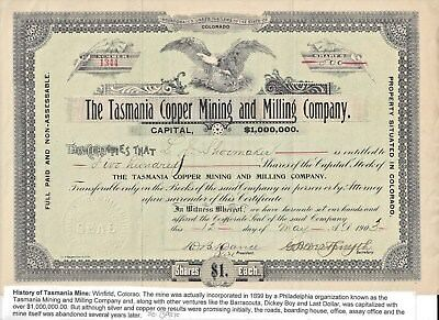 Stk-Tasmania Copper Mining & Milling Co.1903 Winfield, CO 500 shs  See image #4