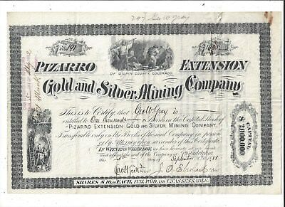 Stk-Pizarro Extension Gold & Silver Mining Co. 1881 Gilpin Cty, Co See image #5