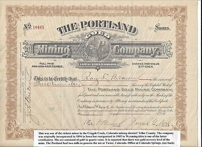 Stk-Portland Gold Mining Co. 1922 Cripple Creek, CO See images 8-9 GREAT info.