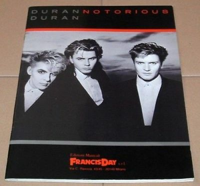 DURAN DURAN Song And Sheet Music Book ITALY Issue - Notorious Album