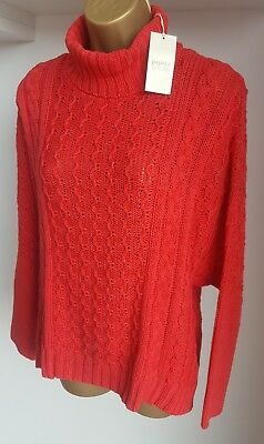 Brand New Papaya Weekend Bright Coral Pink Polo Neck Jumper Size M