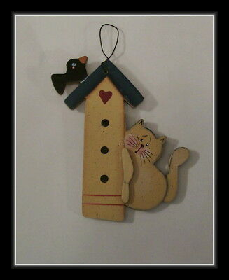 Bird House And Cat Wooden Hanging Sign  Or Ornament