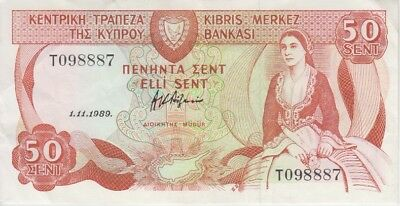 Cyprus Banknote P52-8887 50 Cents 1.11.1989, EF