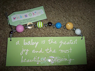 NWT Sandra Magsamen Collectible Ceramic Wall Hanging Plaque Baby Wishes & Kisses