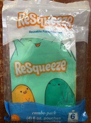 Resqueeze Baby Food Pouches 4x 6 Oz And 2x 9 Oz. Perfect for smoothies Reusable