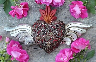 Hand Made Wood Heart Red & Silver Leaf Wings Milagros Folk Art Michoacán Mexico