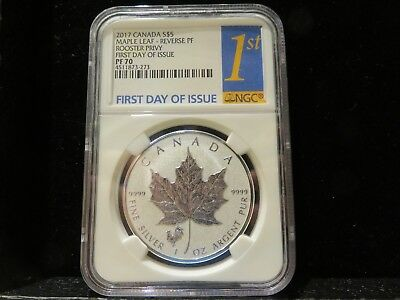 2017 Canada $5 Silver Maple Leaf Rooster Privy Reverse Proof NGC PF 70
