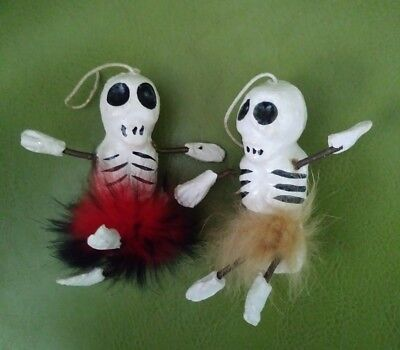 Vtg Paper Mache Ceramic Halloween Skeleton toy spring arms /Legs 1930s-50s Japan