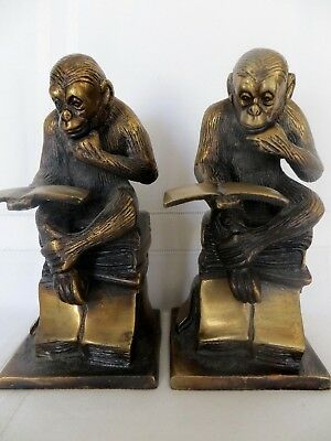 Set of Two MONKEY READING BOOK Bronze Vintage Sculpture BOOKENDS Brass Patina