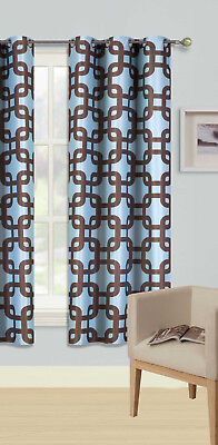 1Pc Grommet Panel Printed Lined Blackout Window Curtain Trellis Teal Brown