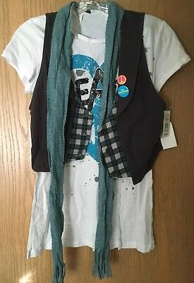 Three Piece Set of White Tshirt Gray Vest and Striped Blue Scarf Juniors Size L