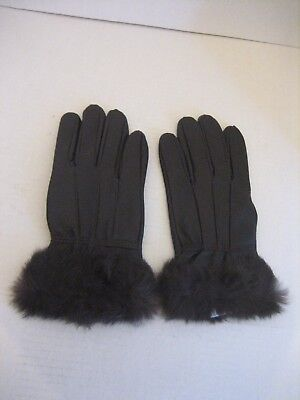 Bijoux Terner Women's Brown Genuine Leather & Fur Gloves Lined Sz L Pre-Owned