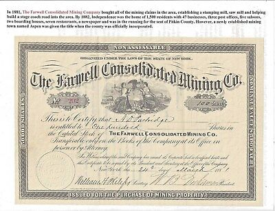 Stk-Farwell Consolidated Mining Co. 1881 Independence, CO Good condition. See #5