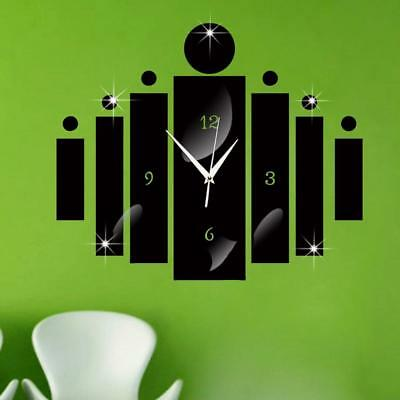 Large Wall Clock Modern Acrylic Quartz Silent DIY Mirror Cylinder Home Decorate
