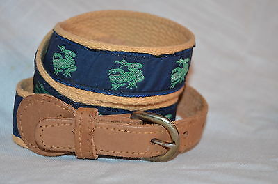 Vintage woman' canvas and leather belt with frogs, fits size 26 - 29 inch waist.
