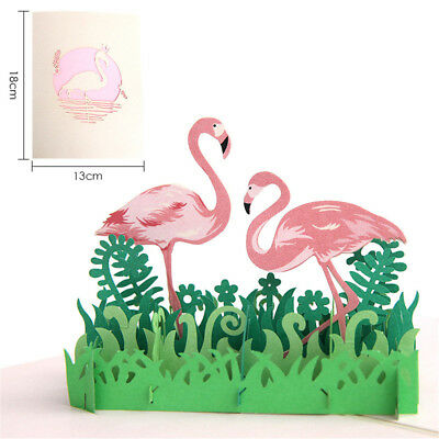 3D pop up flamingo card handmade postcards laser cut greeting cardsSN