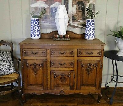 Antique French Country Louis XV Buffet Sideboard Server 2 Door Carved Oak c1920s