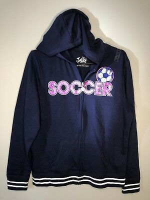 Justice - Girl's Navy Blue Zipper Hooded Soccer Sweatshirt w/ Pink Studs  20 NWT