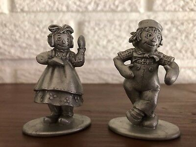 Vintage Schmidt pewter - Raggedy Ann and Andy - 1978