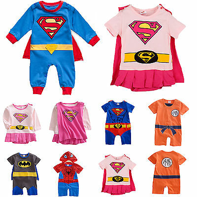 Newborn Baby Boys Girls Outfits Superhero Romper Jumpsuit Bodysuit Costume 3-24M