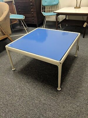 Mid-Century richard Schultz Knoll Blue Enamel Top & White Aluminum  Coffee Table