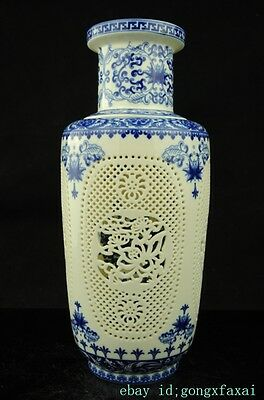 CHINESE old Blue and White PORCELAIN HOLLOW OUT PORCELAIN VASE e01