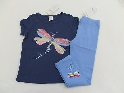 NEW! Gymboree Girls Outfit Blue Dragonfly T-Shirt w/matching Blue Leggings sz 4