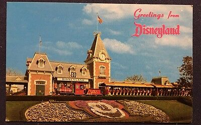 Greetings From Disneyland Floral Mickey Mouse At Entrance Vintage Postcard