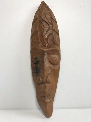 """Wooden Haitian Carved Face Mask Tribal Made In Haiti Signed """"sepe"""""""
