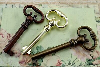Vintage Style Key  Wedding Pendants Charms (Assorted Color)Lot of 3-New