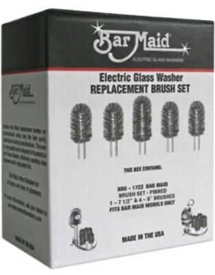 Bar Maid BRS-1722 Electric Glass Washer Replacement Brush Set 5 Brushes Genuine