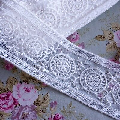 Embroidered Cotton Crochet Tulle Lace Trim 8.5cm Wide 1Yd